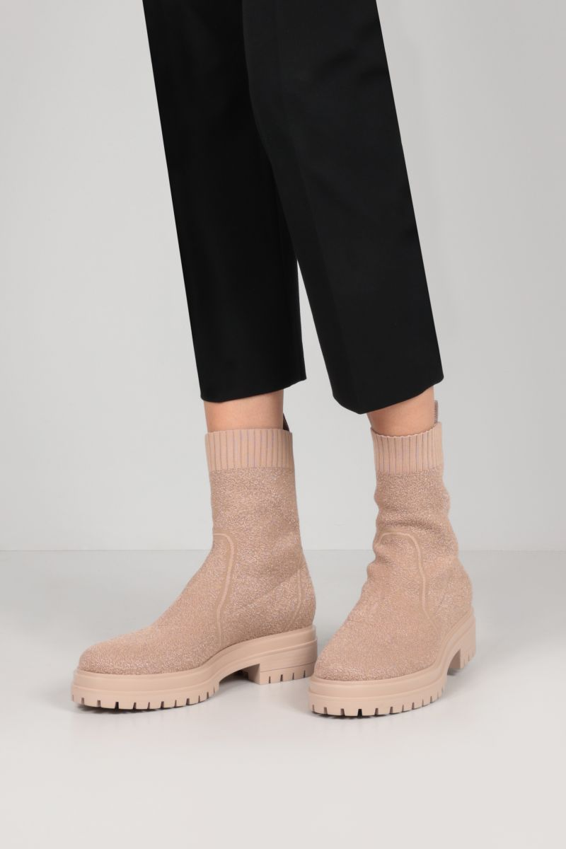 GIANVITO ROSSI: Torrance bouclè knit ankle boots Color Neutral_2