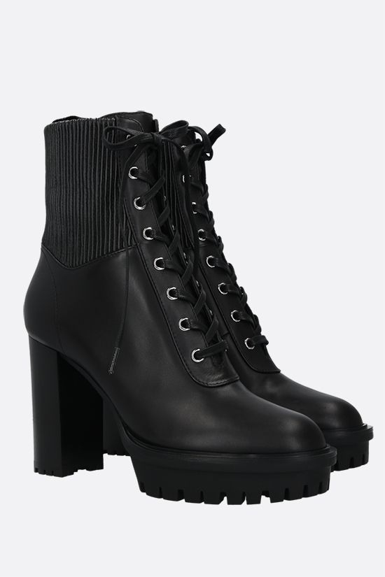 GIANVITO ROSSI: Martis smooth leather lace-up booties Color Black_2