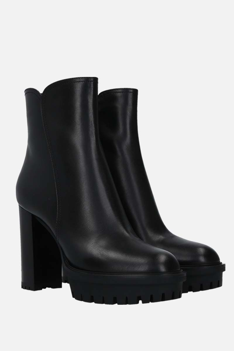 GIANVITO ROSSI: smooth leather platform booties Color Black_2