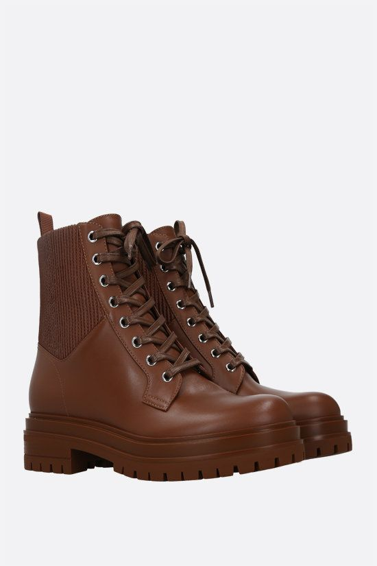 GIANVITO ROSSI: Martis smooth leather combat boots Color Brown_2