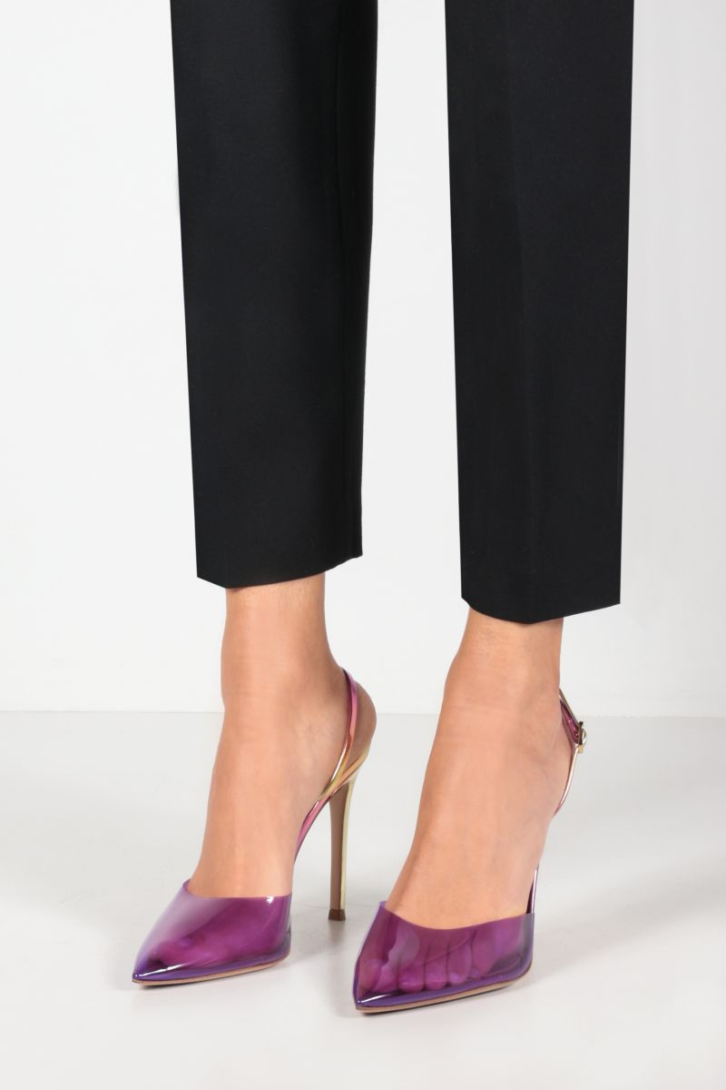 GIANVITO ROSSI: Ribbon d'Orsay slingbacks in PVC and laminated leather Color Purple_2
