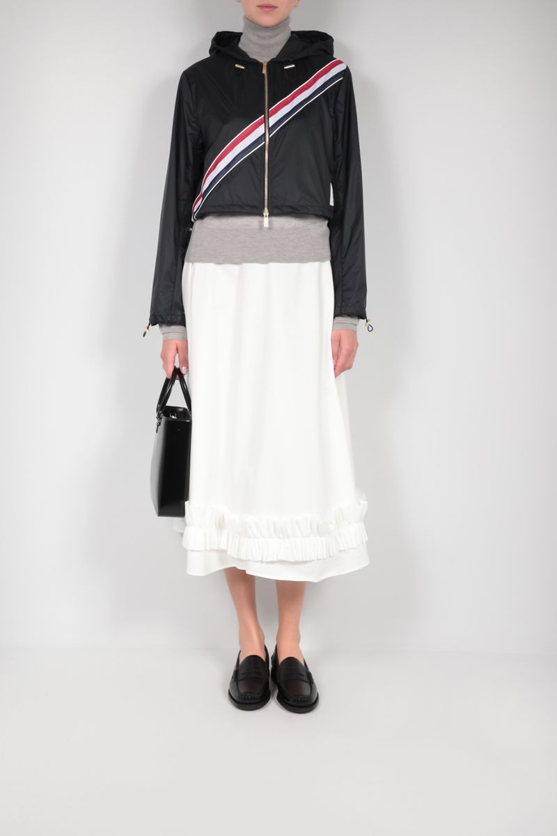 THOM BROWNE: tricolour-detailed nylon ripstop cropped windbreaker Color Blue_2