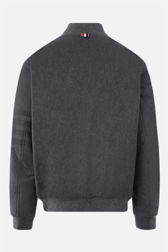 THOM BROWNE: 4-bar-detailed wool cashmere blend padded bomber jacket Color Grey_2