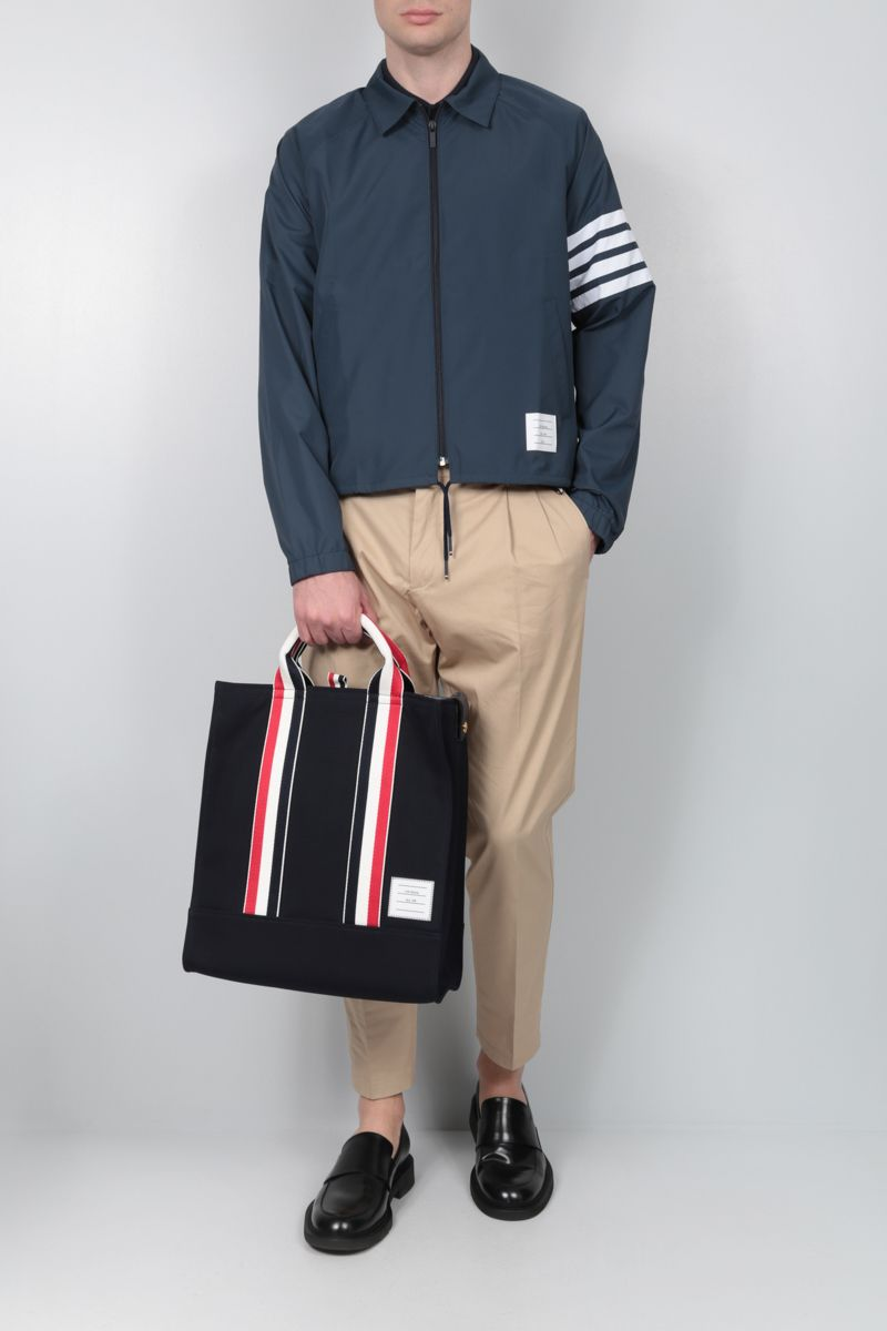 THOM BROWNE: 4-bar detailed nylon windbreaker Color Blue_2