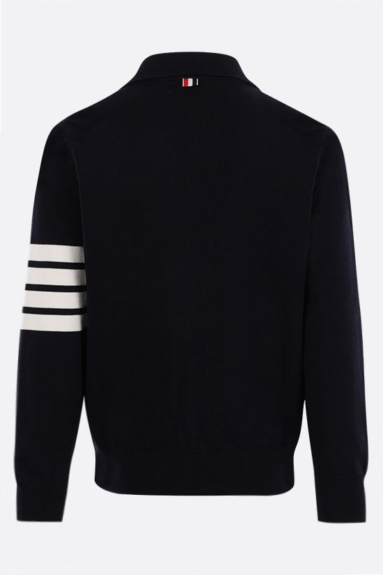 THOM BROWNE: 4-bar-detailed cotton bomber jacket Color Blue_2