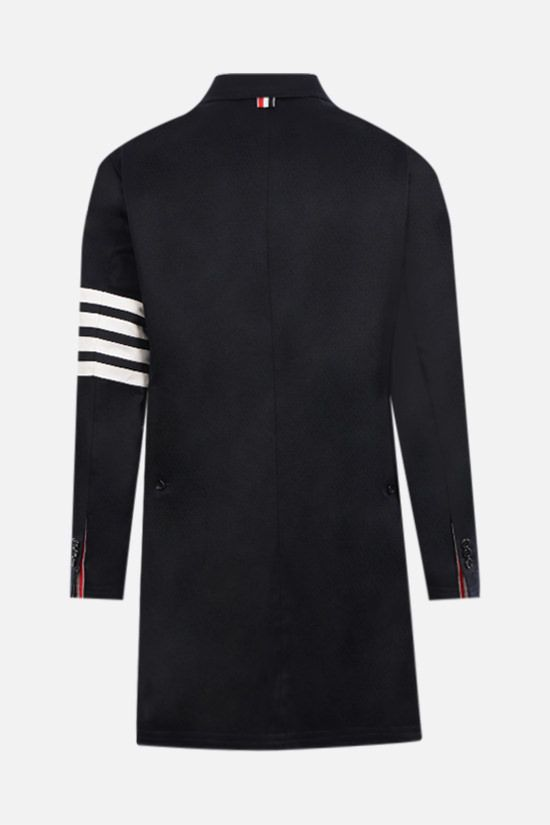 THOM BROWNE: 4-bar-detailed cotton overcoat Color Blue_2