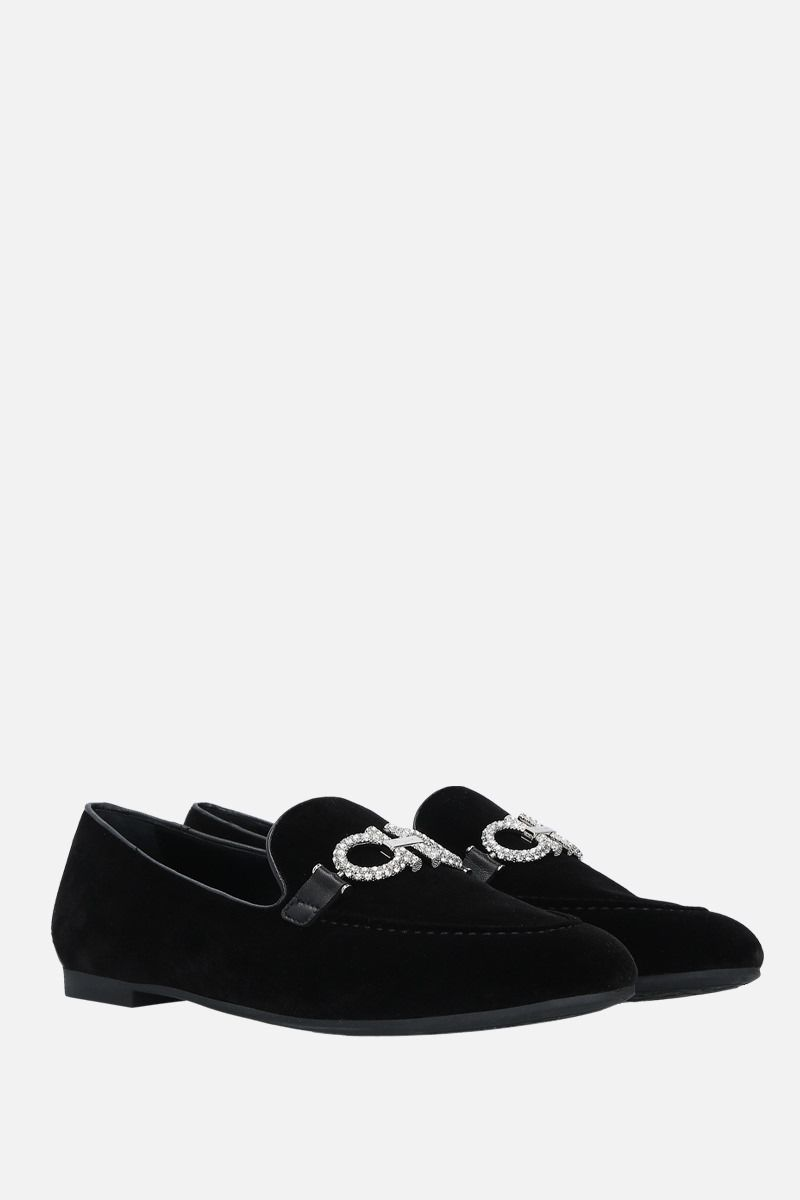 SALVATORE FERRAGAMO: Trifoglio velvet loafers Color Black_2