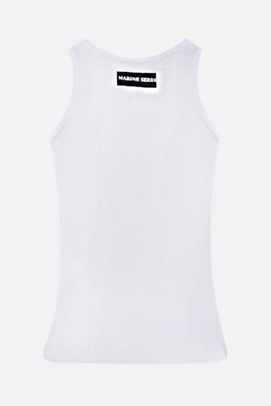 MARINE SERRE: Moon embroidered stretch organic cotton tank top Color White_2