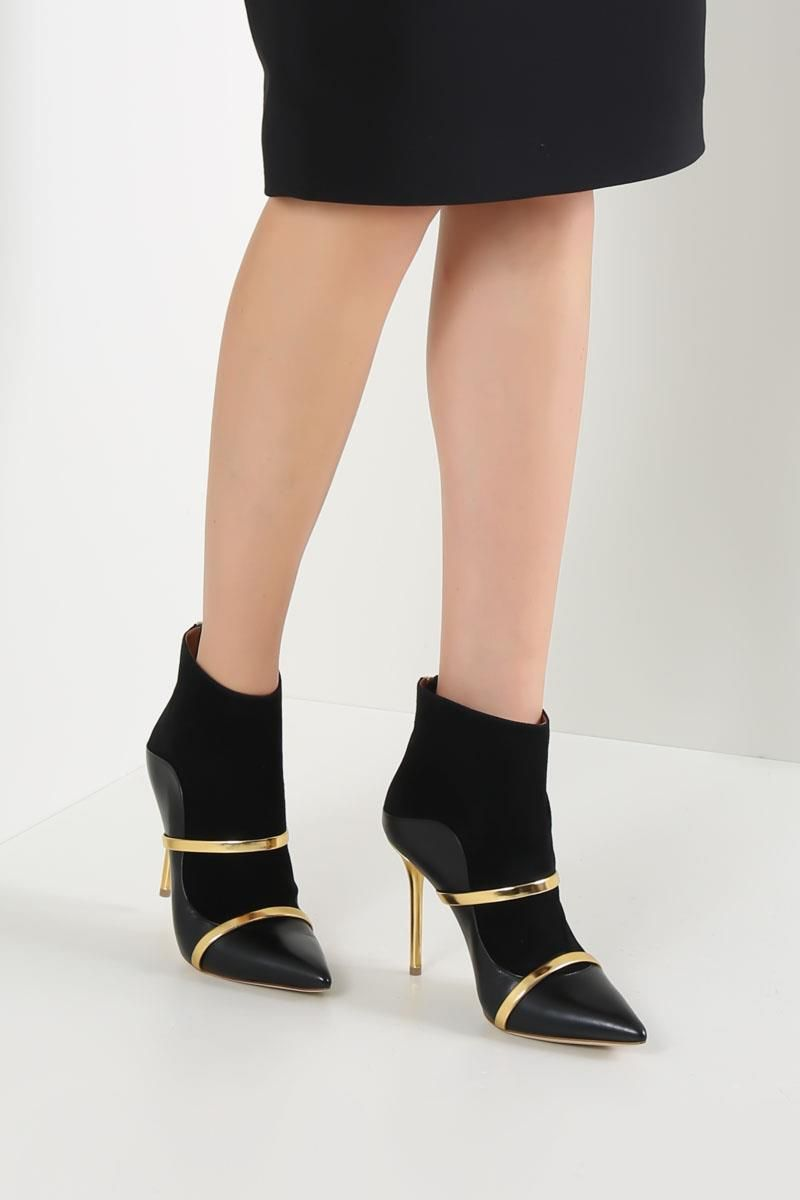 MALONE SOULIERS: Madison nappa leather and suede booties Color Black_2