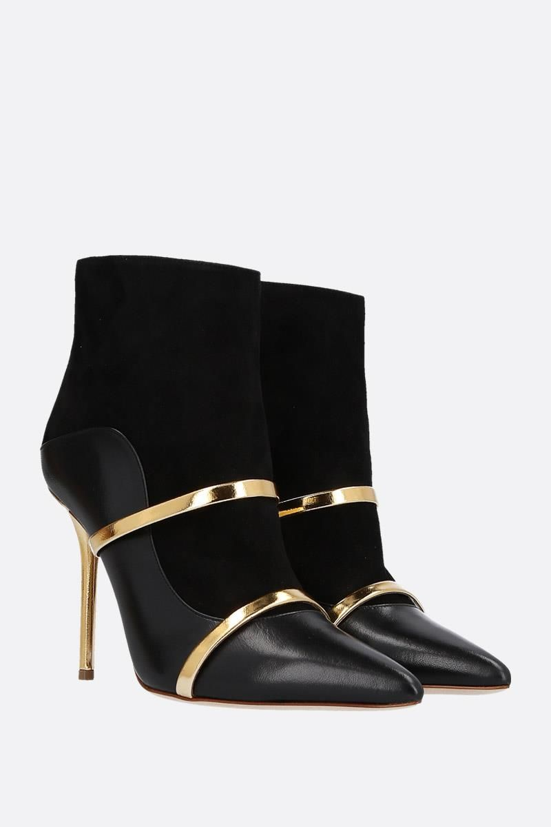 MALONE SOULIERS: Madison nappa leather and suede booties Color Black_3
