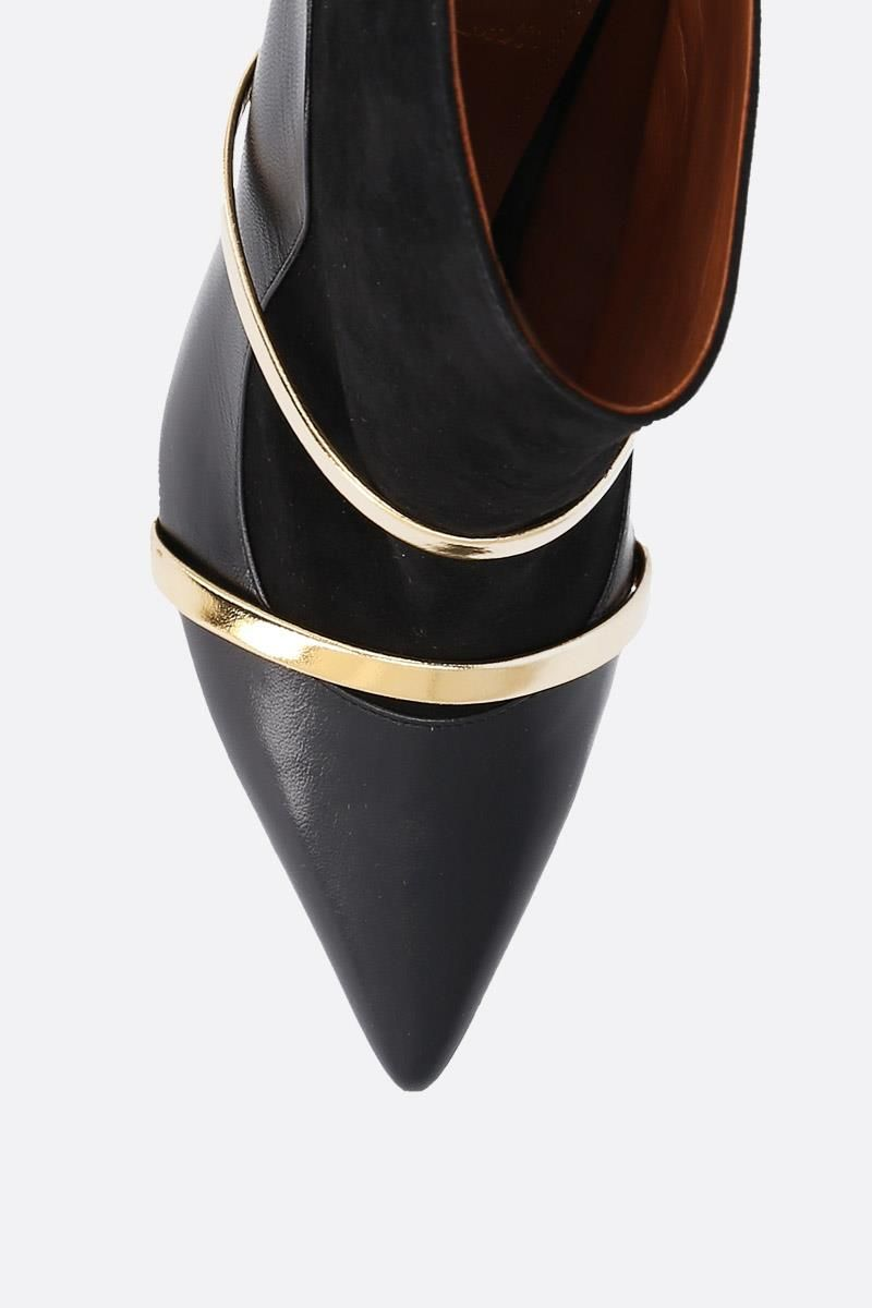 MALONE SOULIERS: Madison nappa leather and suede booties Color Black_5