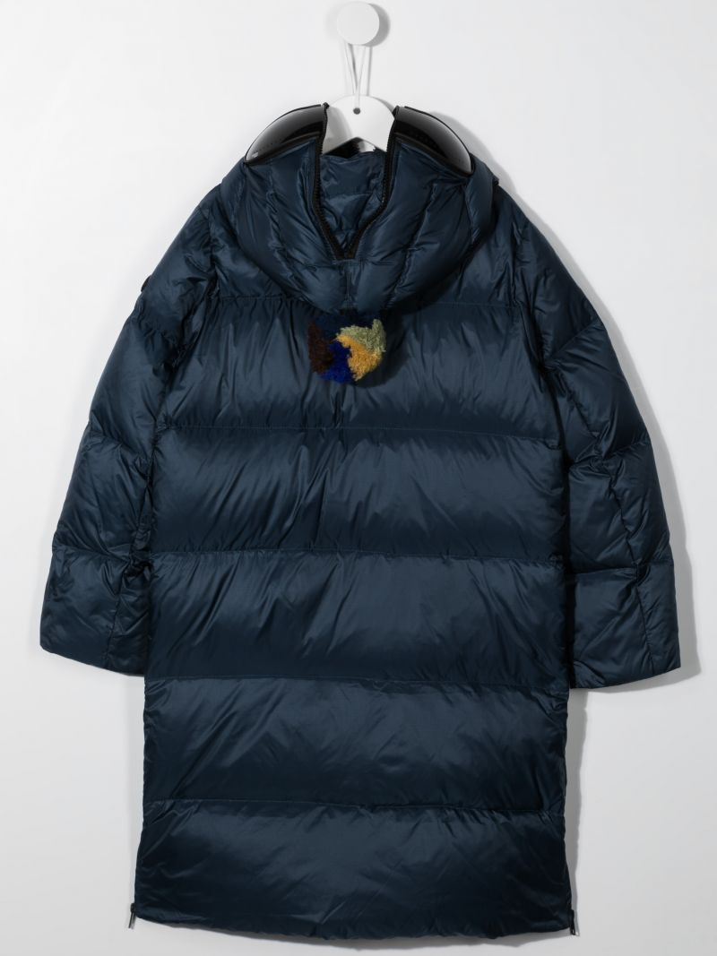 AI RIDERS ON THE STORM KIDS: pom pom-detailed nylon long down jacket Color Blue_2