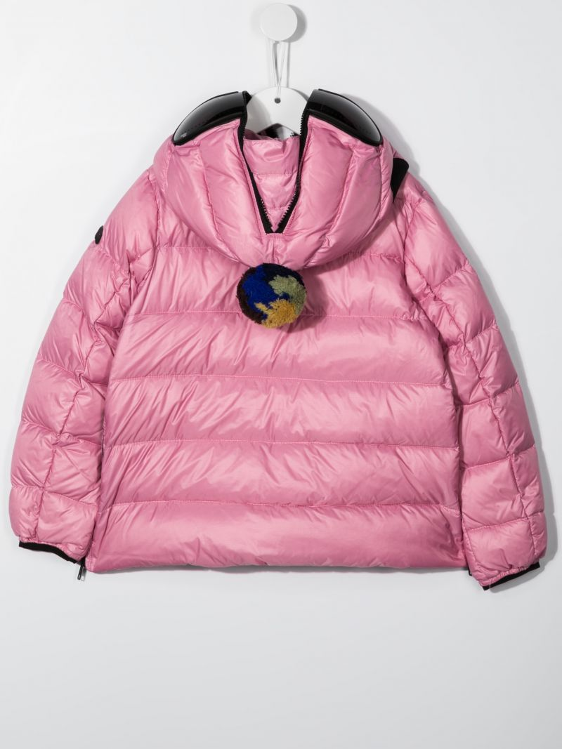 AI RIDERS ON THE STORM KIDS: pom pom-detailed nylon down jacket Color Pink_2