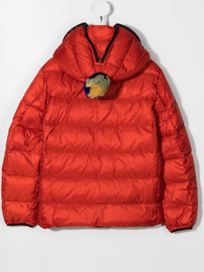 AI RIDERS ON THE STORM KIDS: pom pom-detailed nylon down jacket Color Red_2