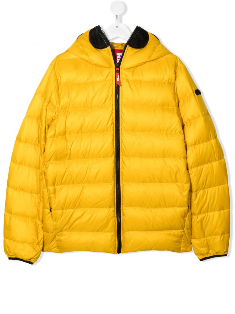 AI RIDERS ON THE STORM KIDS: pom pom-detailed nylon down jacket Color Yellow_1