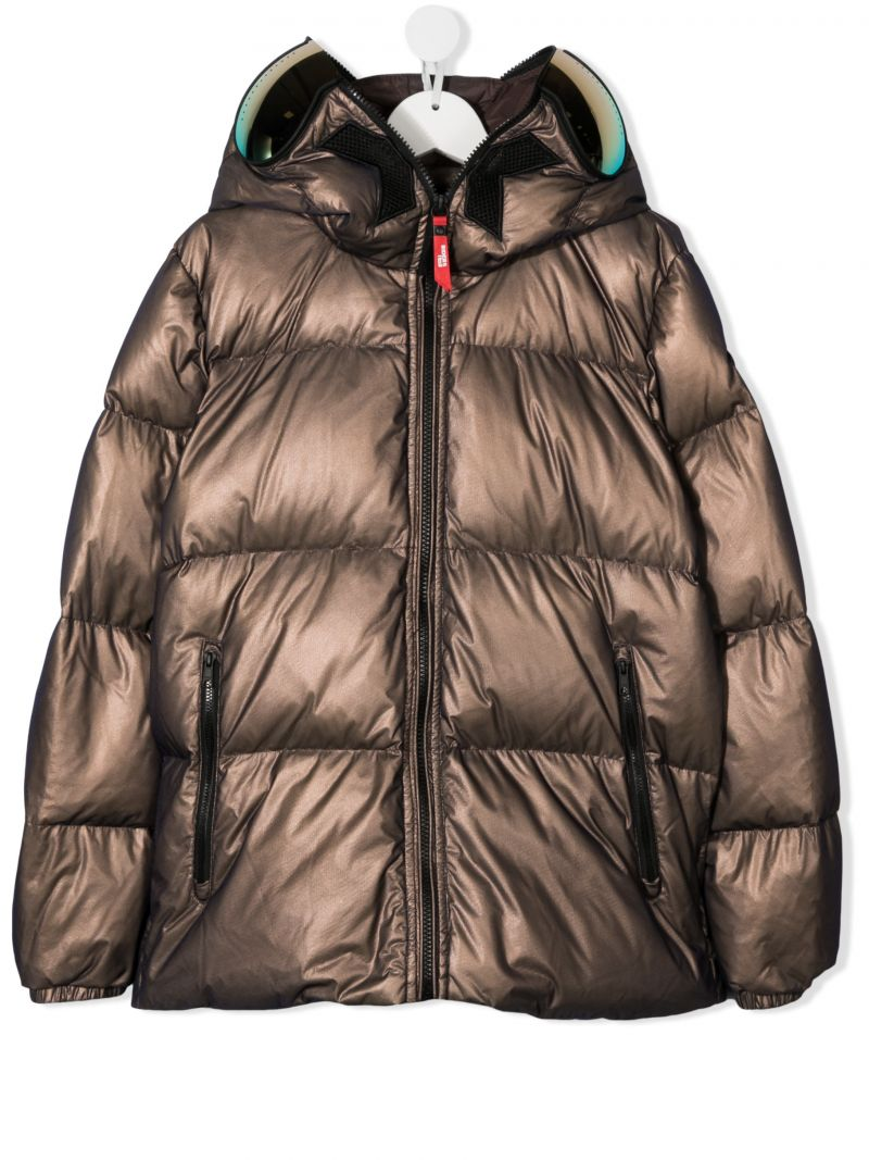 AI RIDERS ON THE STORM KIDS: logo print nylon down jacket Color Brown_1