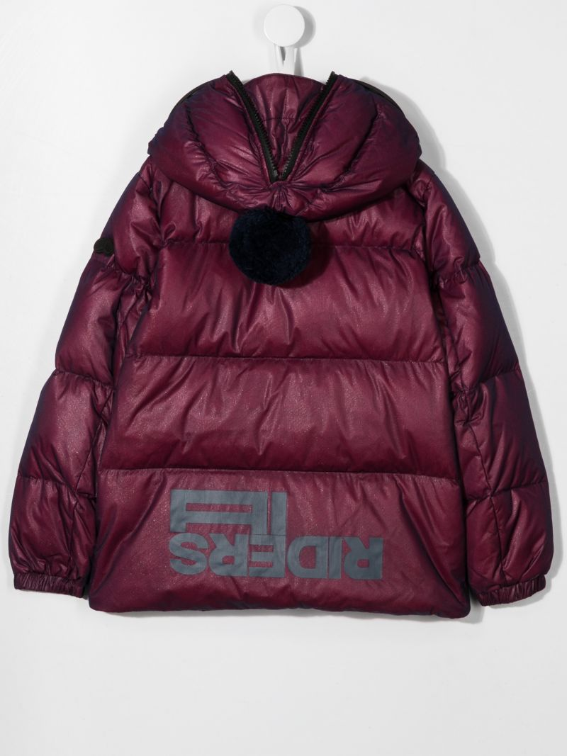 AI RIDERS ON THE STORM KIDS: logo print nylon down jacket Color Red_2