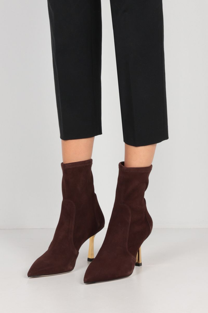 STUART WEITZMAN: Max stretch suede ankle boots Color Brown_2