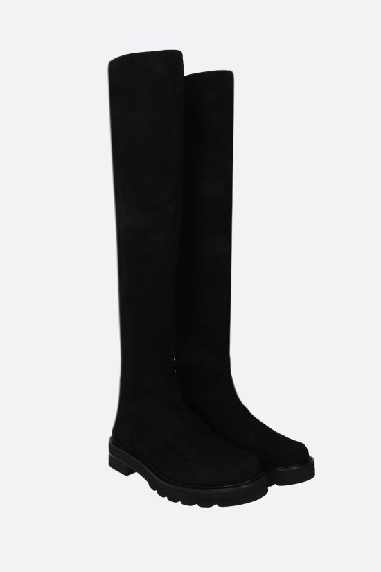 STUART WEITZMAN: 5050 Lift suede and stretch fabric over-the-knee boots Color Black_2