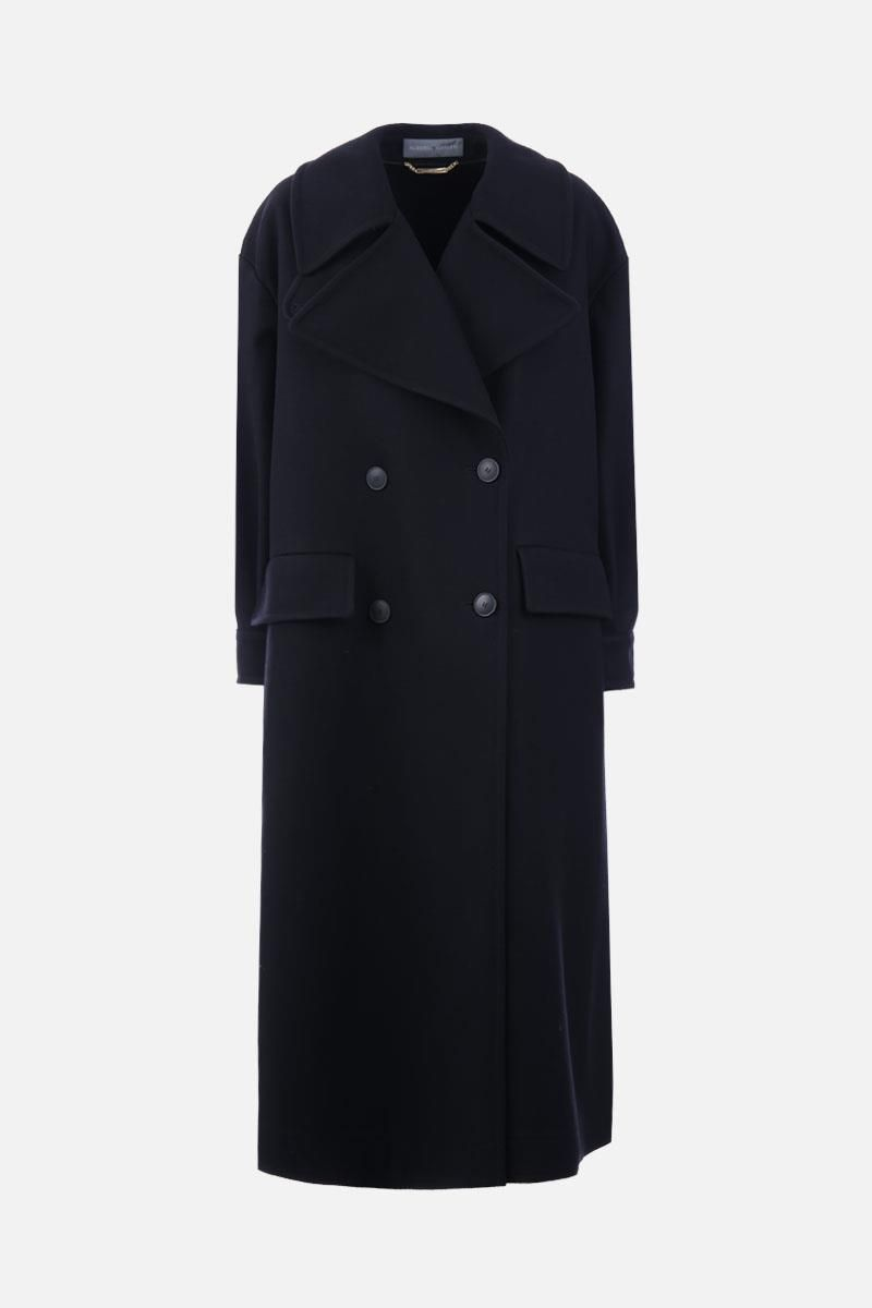 ALBERTA FERRETTI: oversize long coat in wool and cashmere Color Black_1