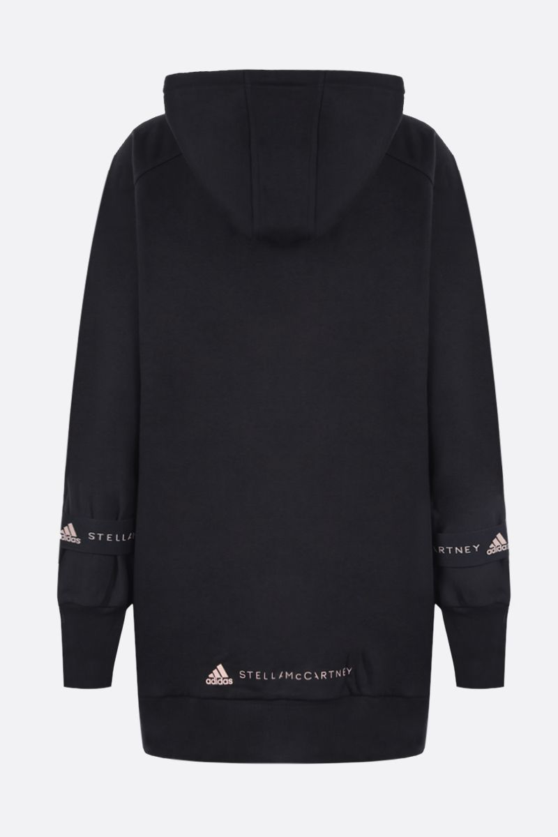 ADIDAS BY STELLA McCARTNEY: felpa full-zip in misto cotone stampa logo Colore Nero_2