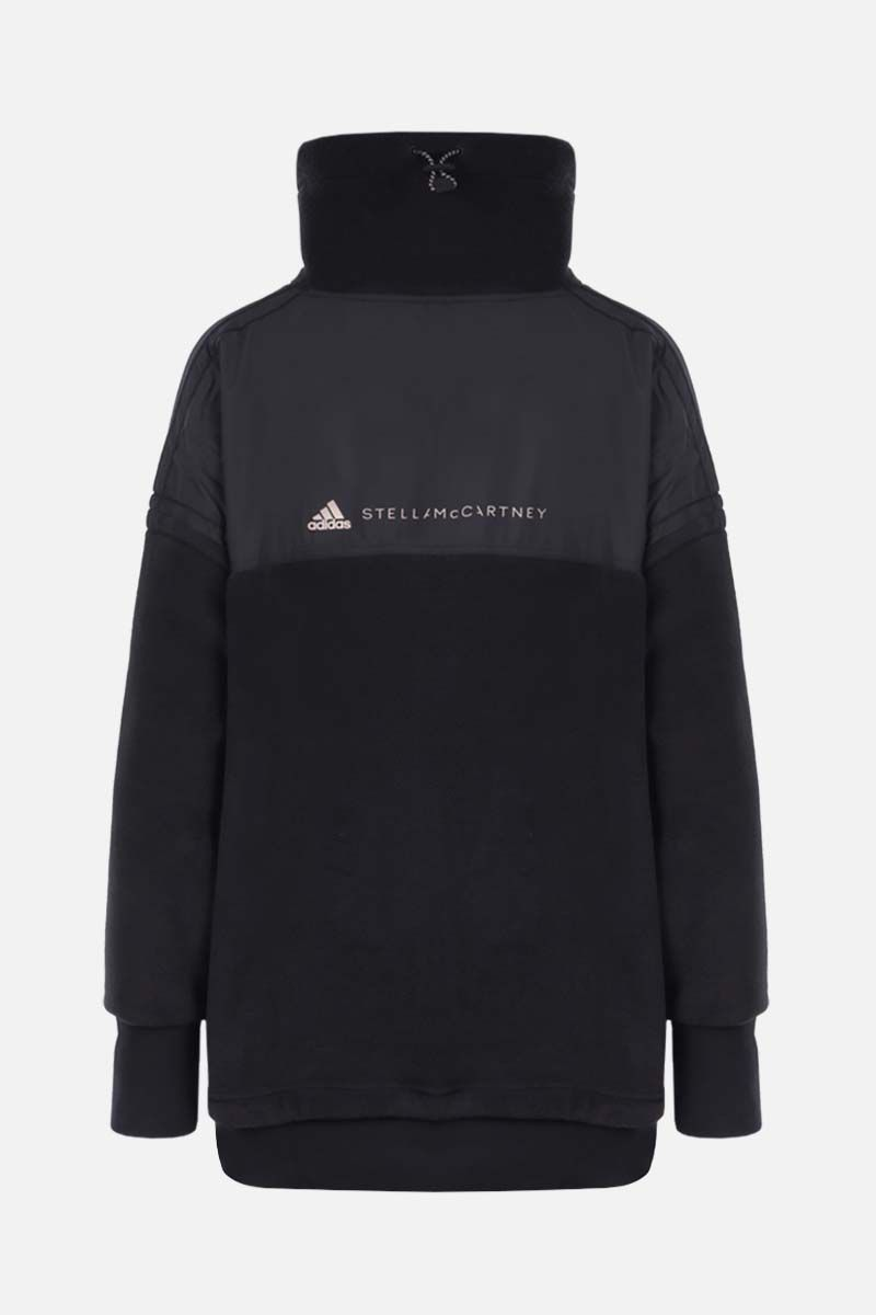 ADIDAS BY STELLA McCARTNEY: felpa in pile stampa logo Colore Nero_2