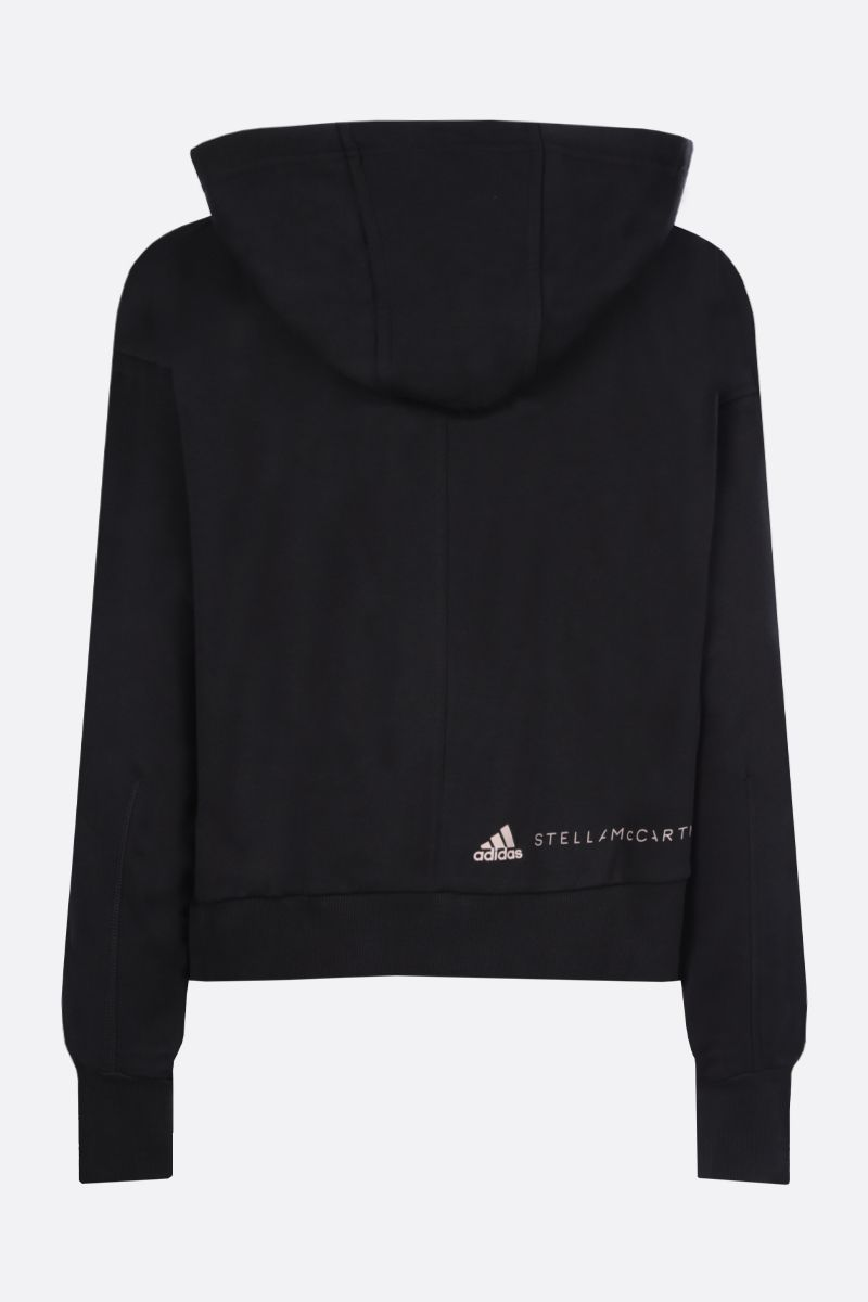ADIDAS BY STELLA McCARTNEY: logo print cropped cotton hoodie Color Black_2