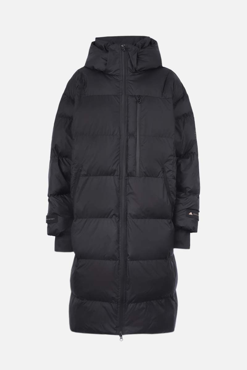 ADIDAS BY STELLA McCARTNEY: logo print nylon long padded jacket Color Black_1