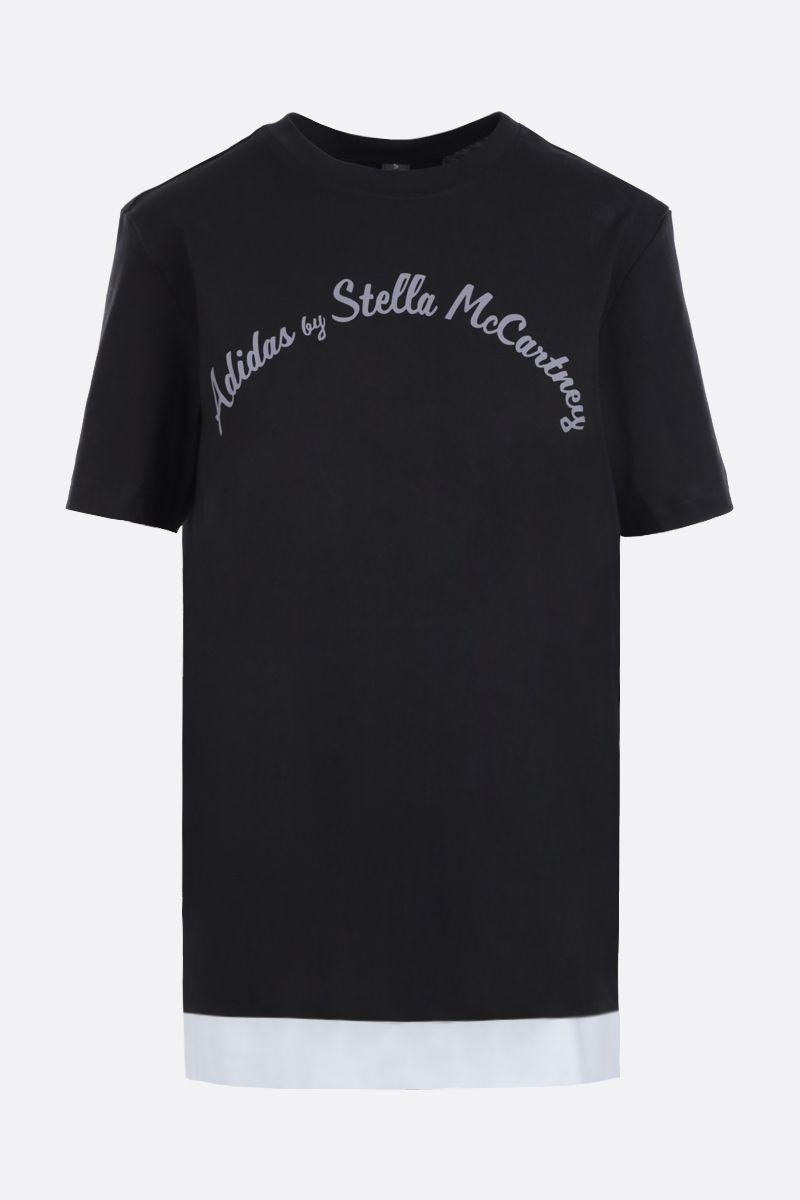 ADIDAS BY STELLA McCARTNEY: t-shirt in misto cotone stampa logo Colore Nero_1