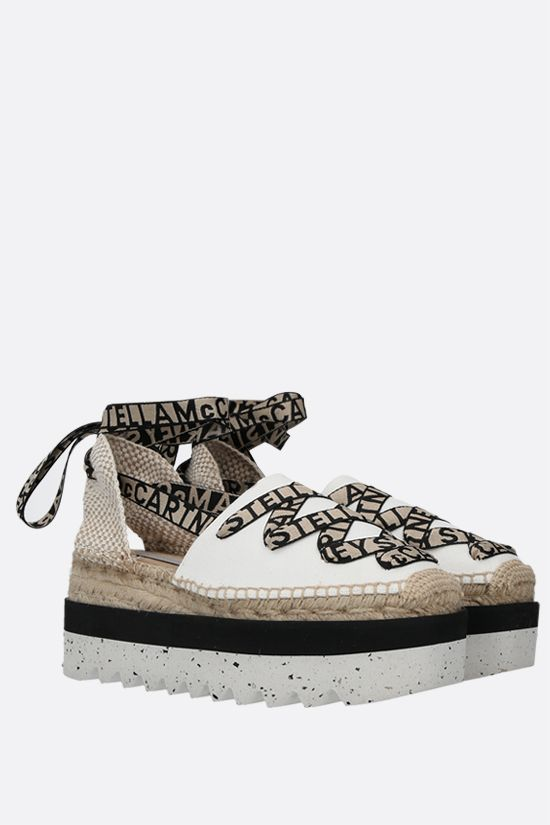 STELLA McCARTNEY: Gaia canvas and jute flatform espadrilles Color White_2