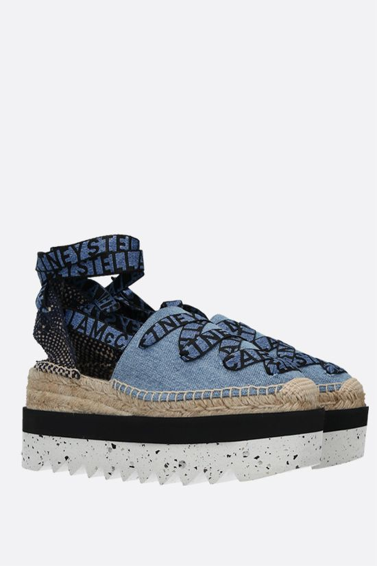 STELLA McCARTNEY: Gaia denim and jute flatform espadrilles Color Blue_2