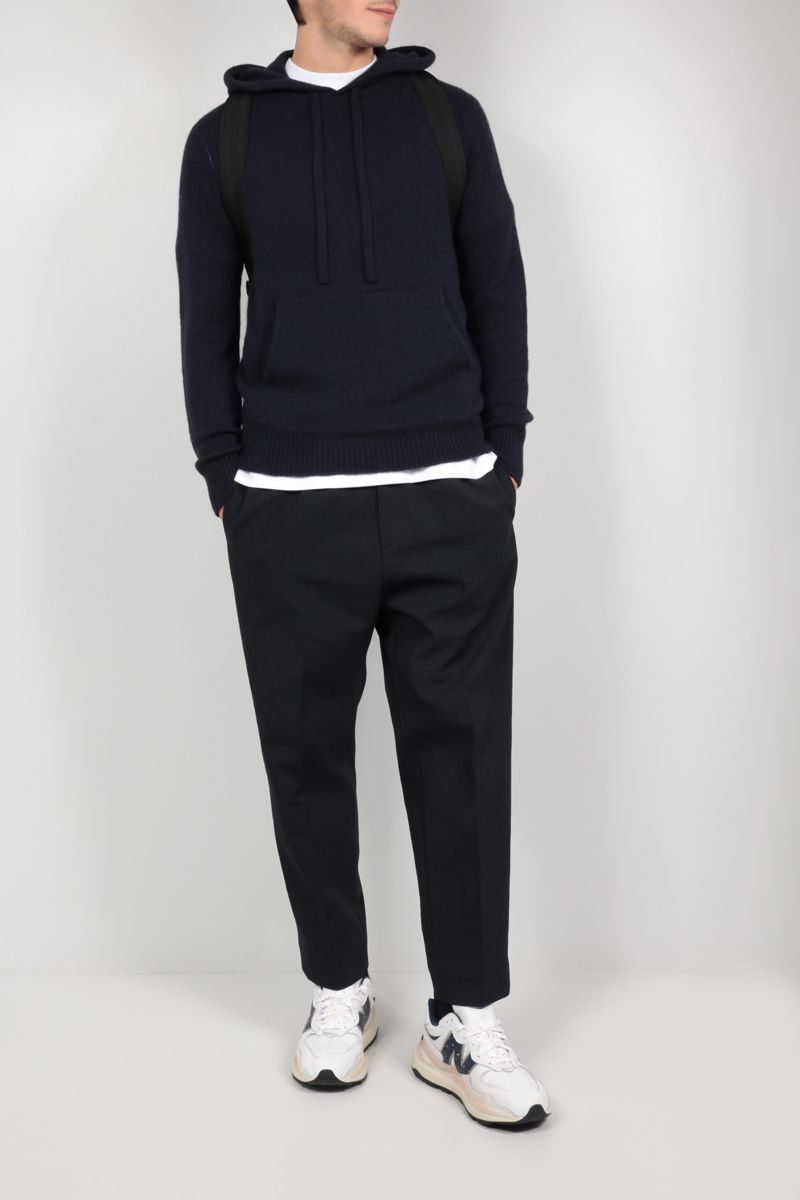 ROBERTO COLLINA: hooded wool blend pullover Color Blue_2
