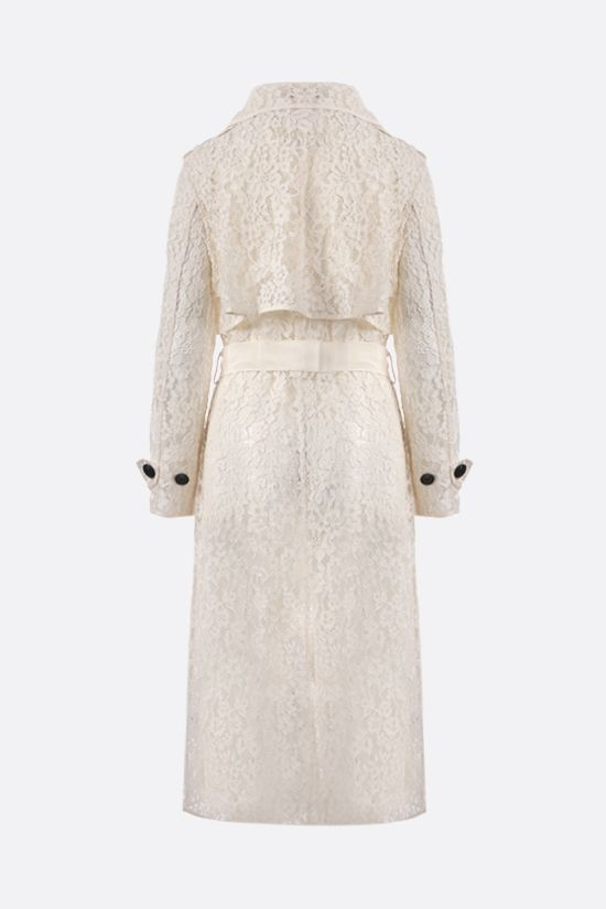 SELF PORTRAIT: double-breasted floral lace trench coat Color White_2