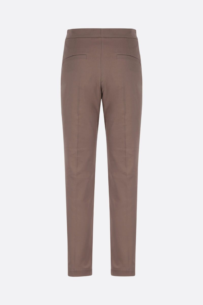BRUNELLO CUCINELLI: monili-detailed stretch cotton cropped pants Color Brown_2