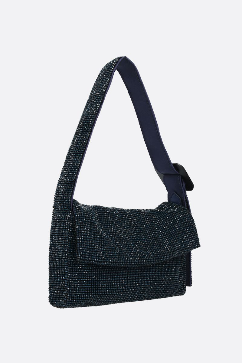 BENEDETTA BRUZZICHES: La Monique small crystal-embellished metal mesh shoulder bag_2