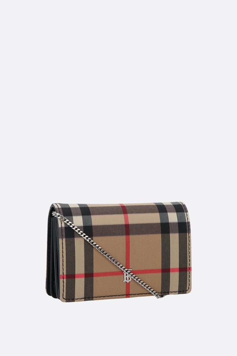 BURBERRY: Jessie canvas and smooth leather card case Color Black_2