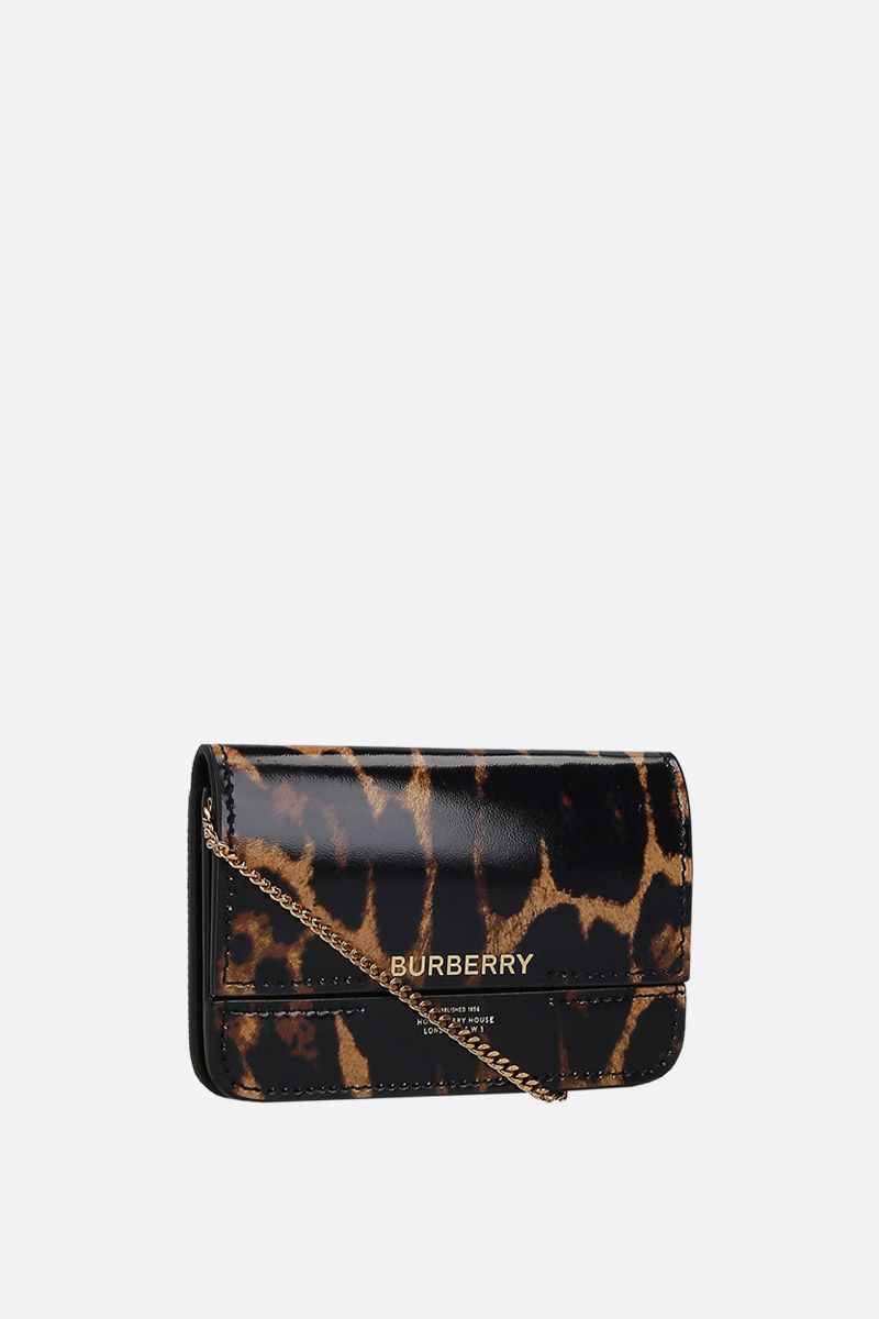 BURBERRY: Jody card case on chain in leopard printed leather_2