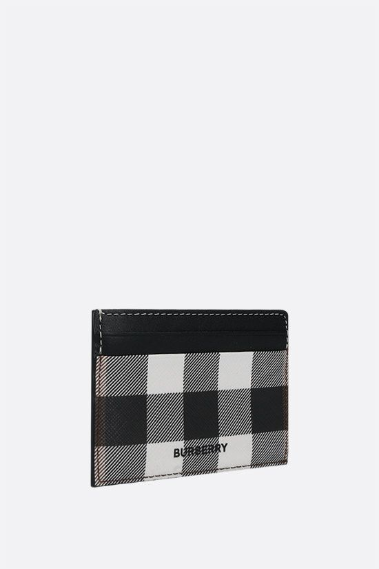 BURBERRY: porta carte Kier in e-canvas e pelle liscia Colore Marrone_2
