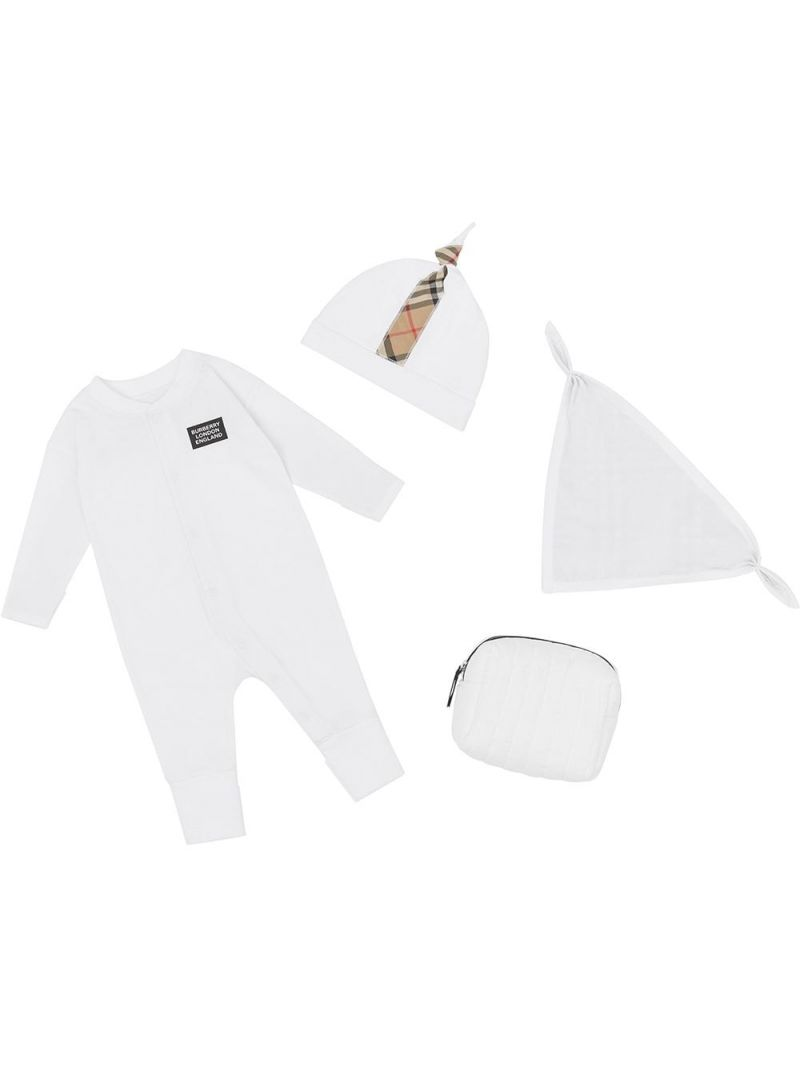 BURBERRY CHILDREN: organic cotton three-piece baby gift set Color Multicolor_1