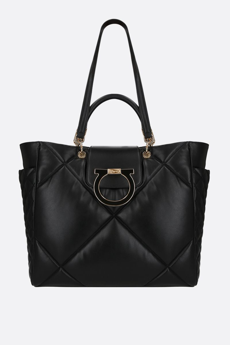 FERRAGAMO'S CREATIONS: quilted leather tote bag Color Black_1