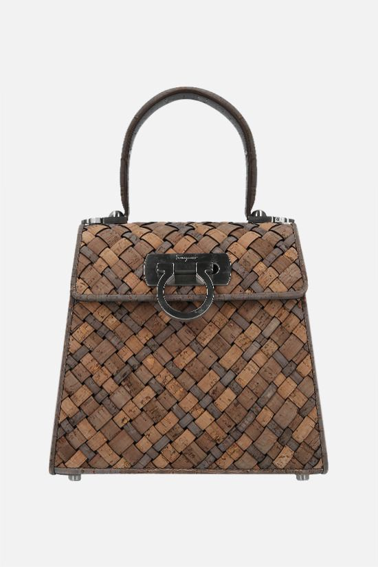 FERRAGAMO'S CREATIONS: Earth Top Handle cork top handle bag Color Neutral_1