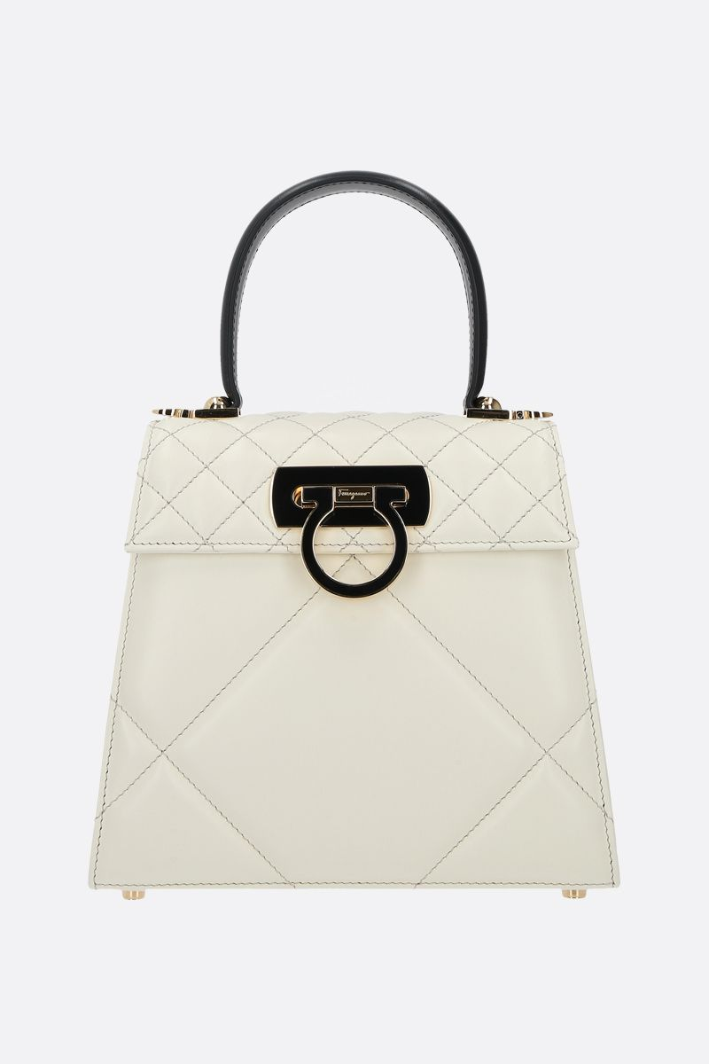 FERRAGAMO'S CREATIONS: Top Handle small quilted leather handbag Color White_1