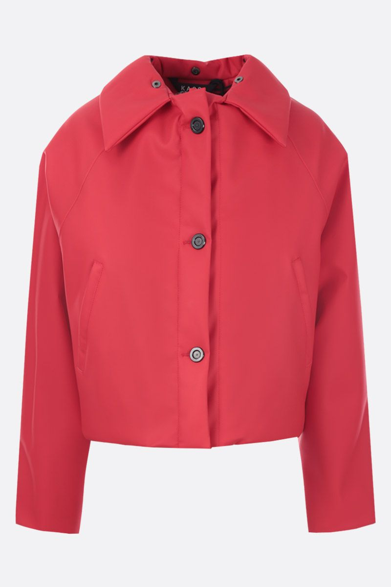 KASSL EDITIONS: crop padded jacket in coated canvas Color Red_2