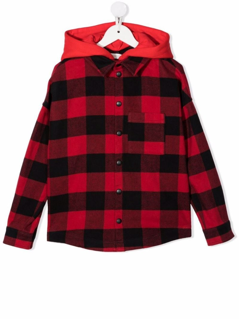 PALM ANGELS KIDS: check cotton overshirt Color Red_1