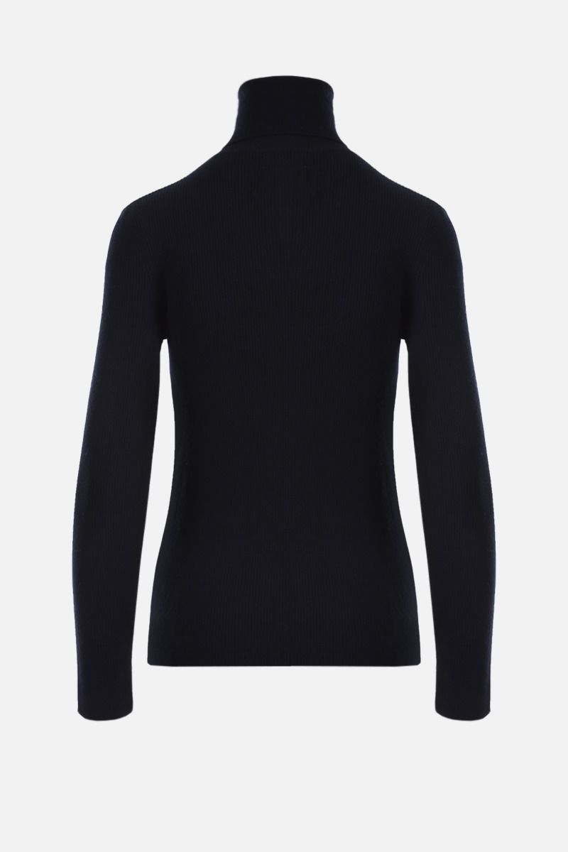 'S MAX MARA: Ginevra ribbed wool turtleneck Color Blue_2