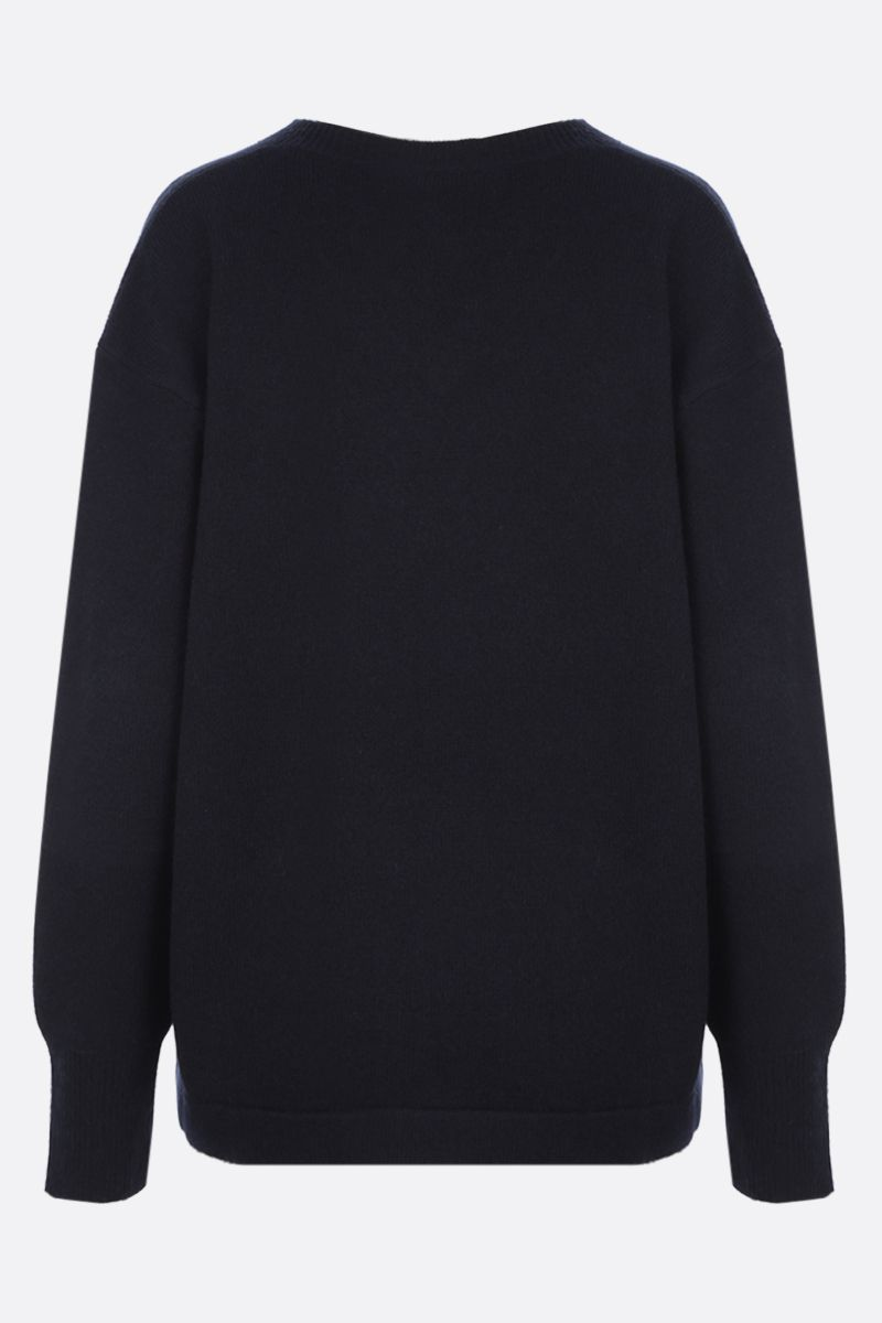 'S MAX MARA: Dritto cashmere wool blend pullover Color Blue_2