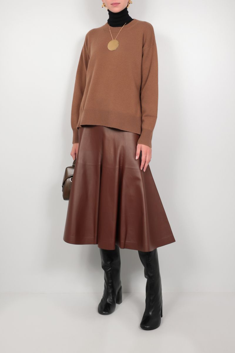 'S MAX MARA: Ovatte cashmere wool blend pullover Color Brown_2