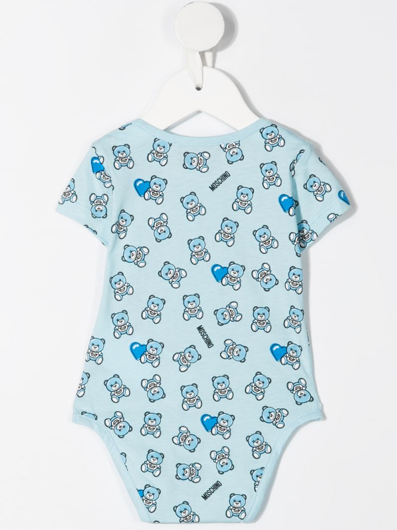 MOSCHINO KIDS: Moschino Teddy Bear print cotton two-babygrow set Color Blue_2