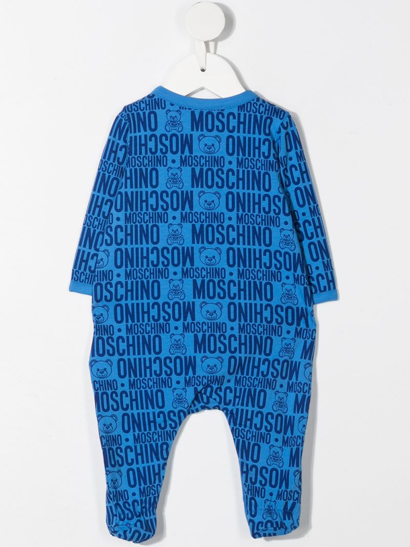 MOSCHINO KIDS: logo print stretch cotton romper Color Blue_2