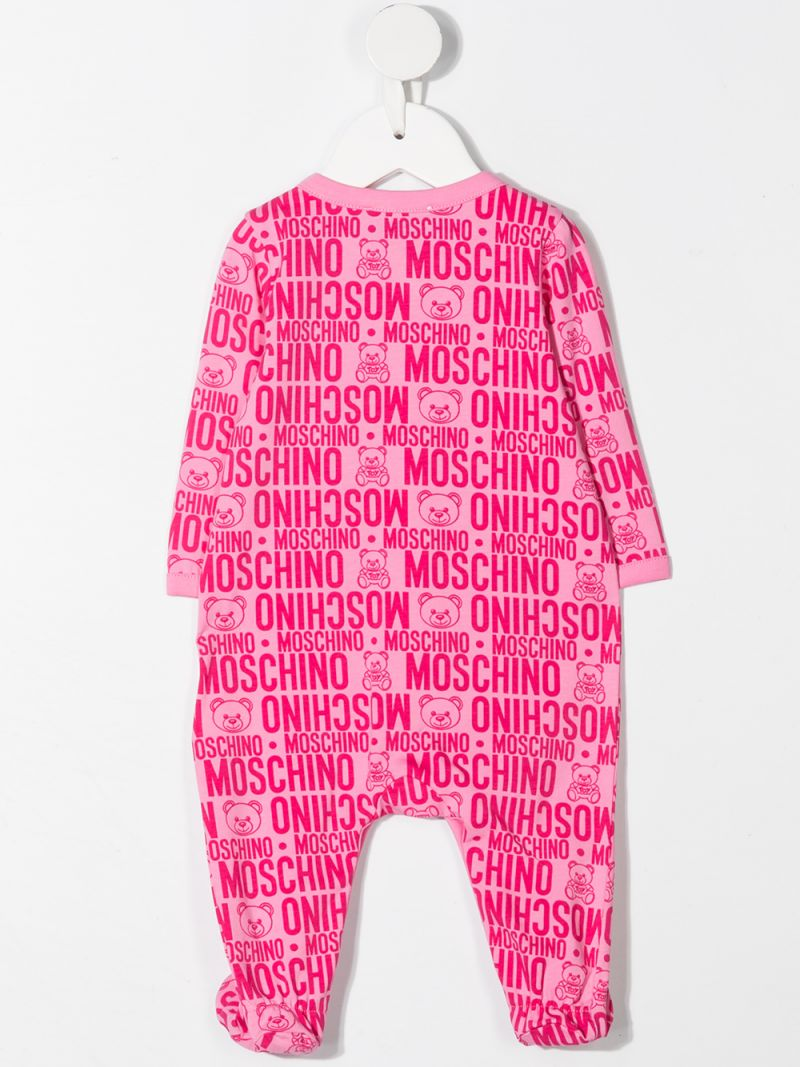 MOSCHINO KIDS: logo print stretch cotton romper Color Purple_2